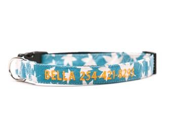 Custom Mojito Blue Canvas Collar Personalized Embroidery