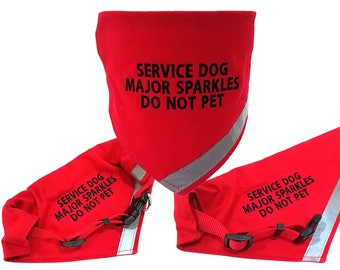 Custom Embroidered Personalized Red Dog Collar And Bandana With Reflective Safety Strip