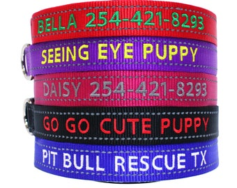 Personalize Dog Collar Reflective Custom Made Embroider With Name