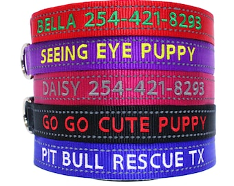 Custom Embroidered Reflective Personalized Dog Collars