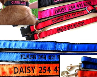 Custom Personalized Embroidered Dog Collar and Matching Leash combo