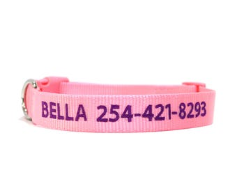 Custom Personalized Light Pink Soft Flexible Nylon Embroidered Dog Collar