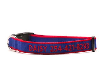 Custom ECO Friendly Personalized Embroidered Dog Collar - Blue and Red