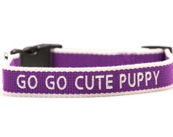 Custom ECO Friendly Personalized Embroidered Dog Collar - Purple and White