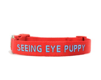 Custom Personalized Red Soft Flexible Nylon Embroidered Dog Collar
