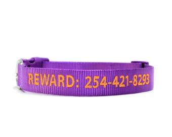 Custom Personalized Purple Soft Flexible Nylon Embroidered Dog Collar