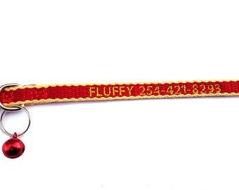 Custom Eco Friendly red/yellow Breakaway Cat Collar w/Bell