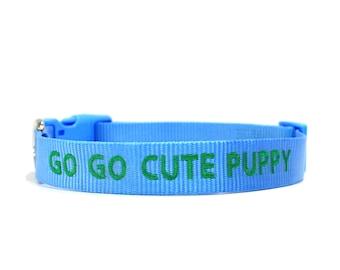 Custom Personalized Light Blue Soft Flexible Nylon Embroidered Dog Collar