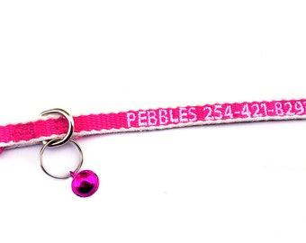 Custom Eco Friendly pink/white Breakaway Cat Collar w/Bell