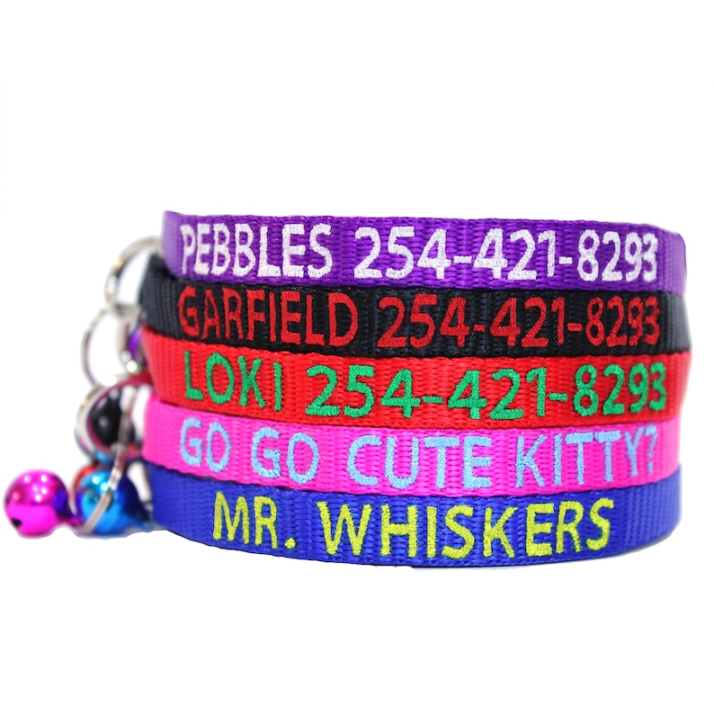 Cat Collar Breakaway Personalize Custom Embroider Nylon With image 0