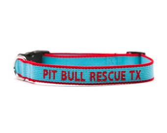 Custom ECO Friendly Personalized Embroidered Dog Collar - Light Blue And Red