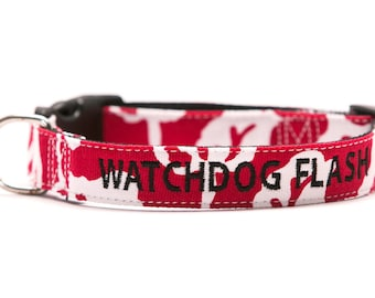 Custom Rorschach Red Dog Collar Personalized Embroidery - Who Watches the Watchdog?