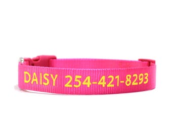Custom Personalized Hot Pink Soft Flexible Nylon Embroidered Dog Collar
