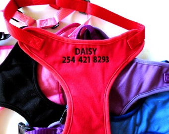 Custom Personalized Embroidered Dog Harnesses