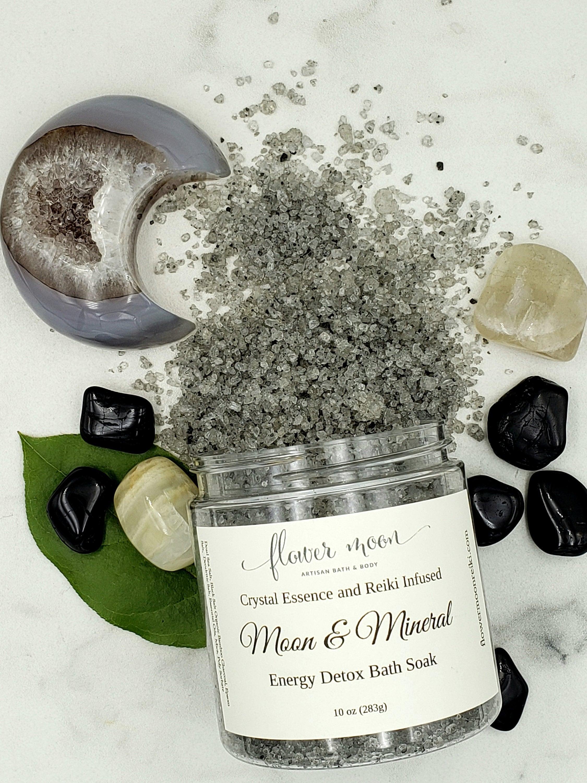 Energy Detox Bath Salt, Crystal and Reiki Infused to Release + Renew    Moonstone + Black Tourmaline   Moon Ritual, Mineral Bath, Empath