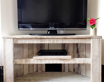 Handmade Rustic Corner Table/Tv Stand With Shelf. Reclaimed And Recycled  Wood   White
