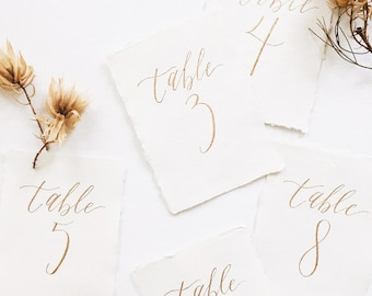 Table Number Calligraphy on Handmade Cotton Paper | Custom Calligraphy for Weddings & Special Events
