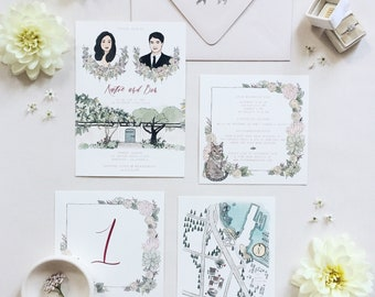Illustrated Invitation Suite Samples | Assorted Design Samples | Custom Hand Drawn Stationery Suite Samples for Weddings & Special Events