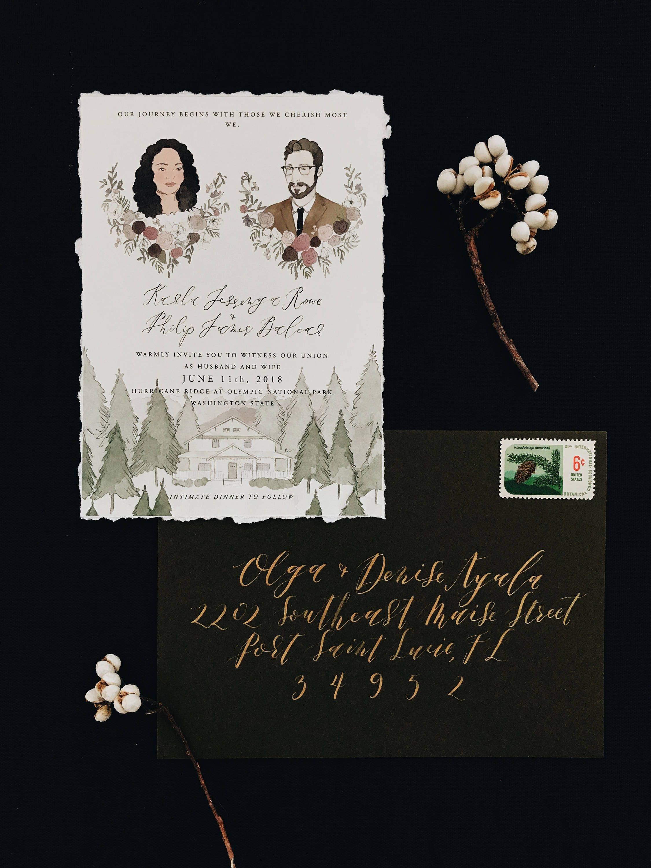 illustrated wedding invitation with hand torn deckled edge custom