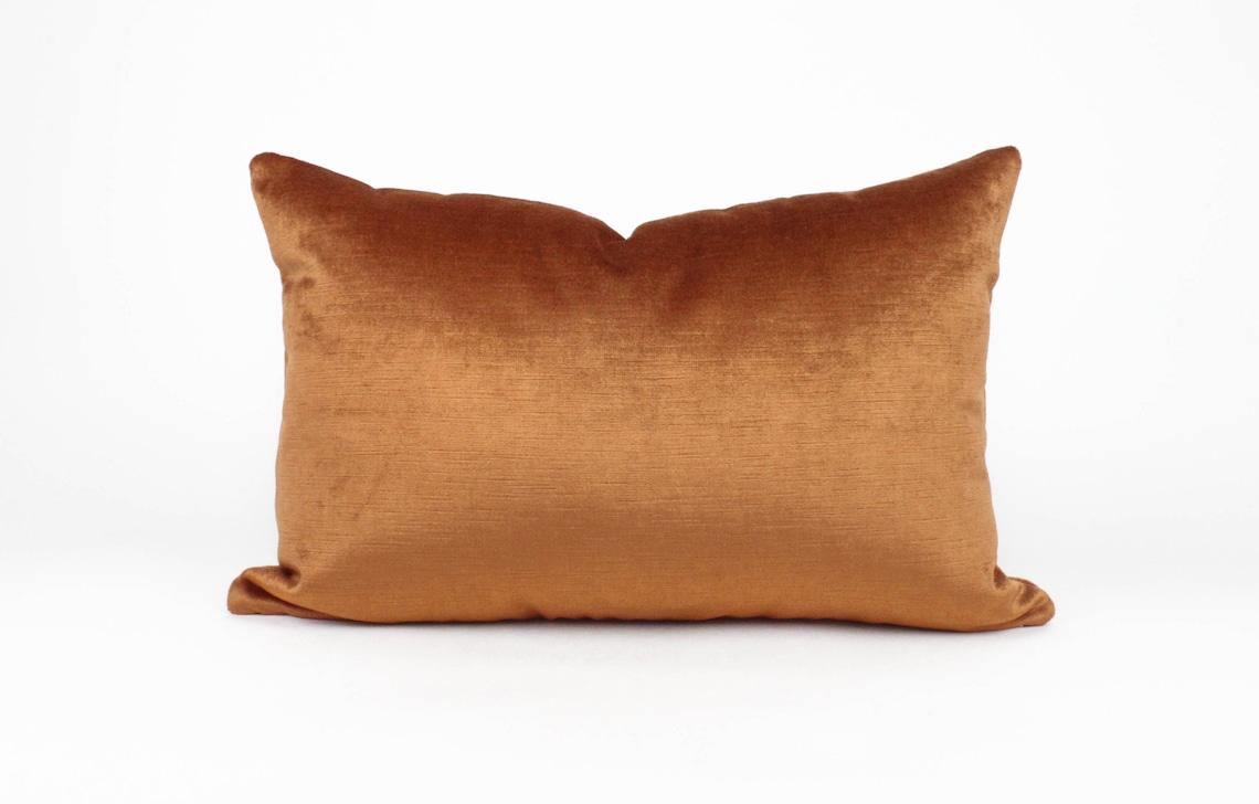Read the full title Rust/ Copper / Burnt Orange Velvet Lumbar Pillow Cover