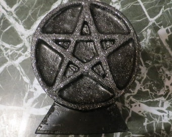 Pentagram (pentacle) wiccan  Candle (7x5) 22 oz candle black white with trim or plain
