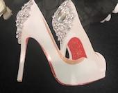 Wedding Bridal Shoes Chipboard Embellishment Crystal 3D Gemstones Christian Louboutin Bride DarlingArtByValeri Scrapbooking Mini Album Cards