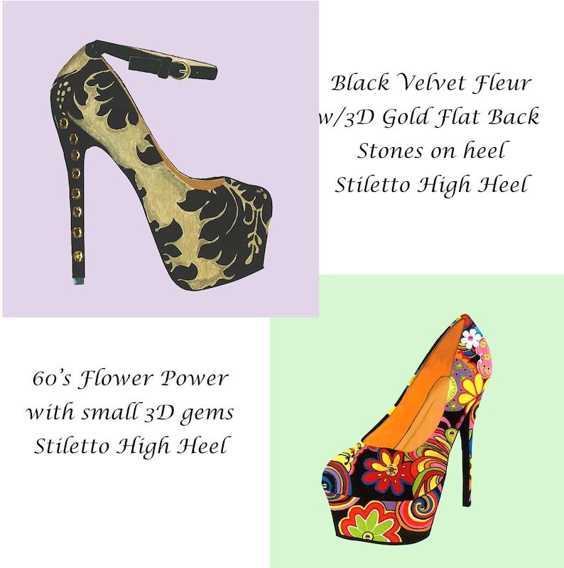 ec00baf3a13 60's Flower Power & Fleur Stiletto High Heel Shoe w/ 3D Embellishments Hand  painted 12 x 12 Canvas DarlingArtByValeri Acrylic Custom Design