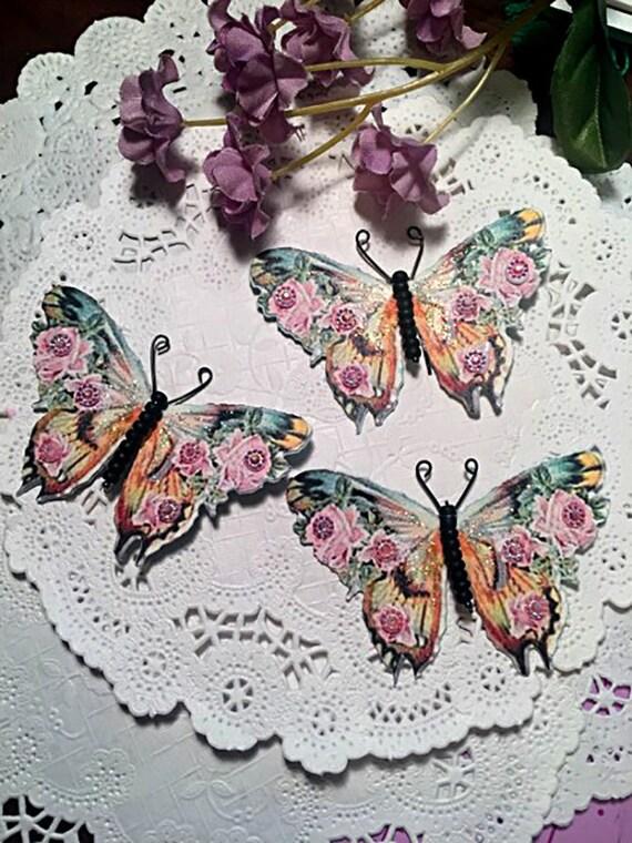 Pink Passion /& Roses Black Matte Glass Bodied Butterflies DarlingArtByValeri Scrapbooking Embellishments Mini Albums Card Making