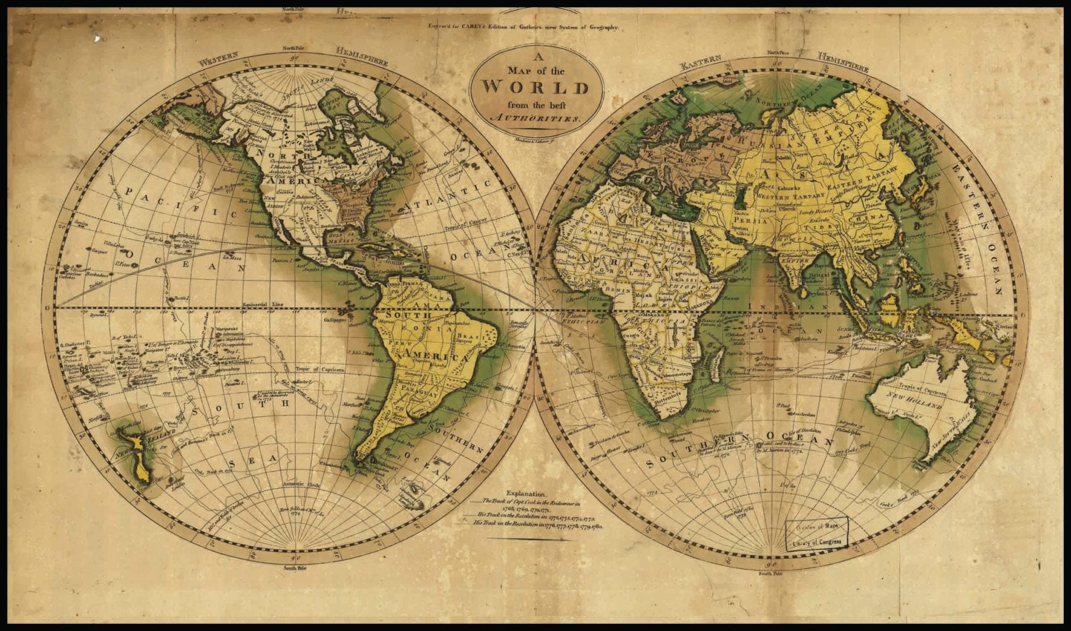 Mounted World Map.World Map Circa 1800 S Mounted On Poster Board With Black Etsy