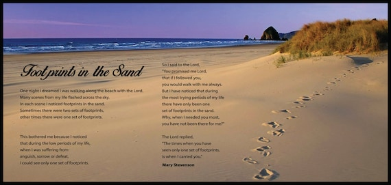 Footprints In The Sand Wall Quotes Ultra Board 14x30 Etsy