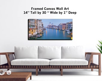 """Venice, Italy - Wall Art - 30x14x1"""" - Framed Canvas Print Gallery Wrapped Canvas Art -"""