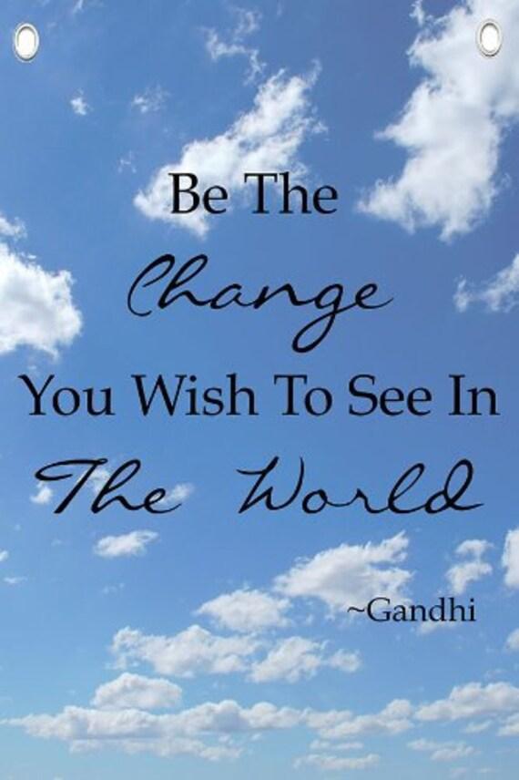 Pared De Citar Sé El Cambio Frases Motivacionales Gandhi Cita Lona Banner 12 X 18