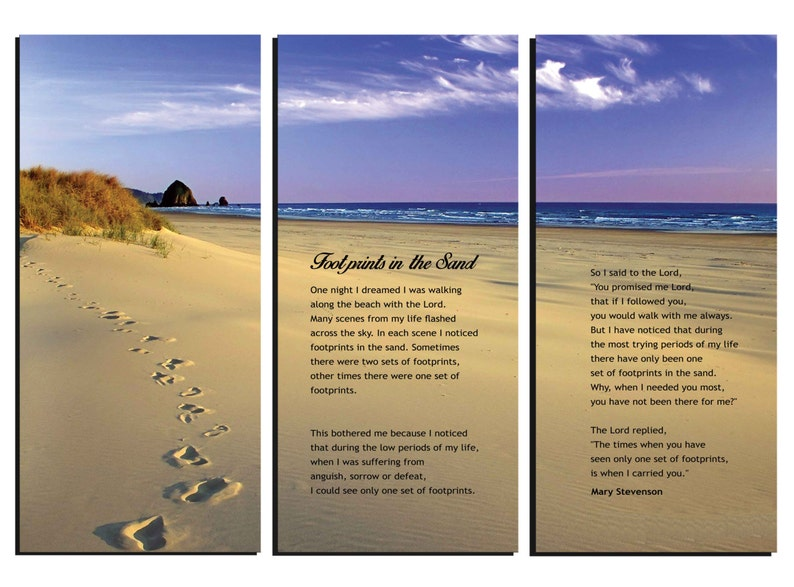 photograph regarding Footprints in the Sand Poem Printable Version titled Footprints inside the Sand Poem - Canvas Wall Artwork - Framed Enormous 3-Panel Canvas Gallery Wrap