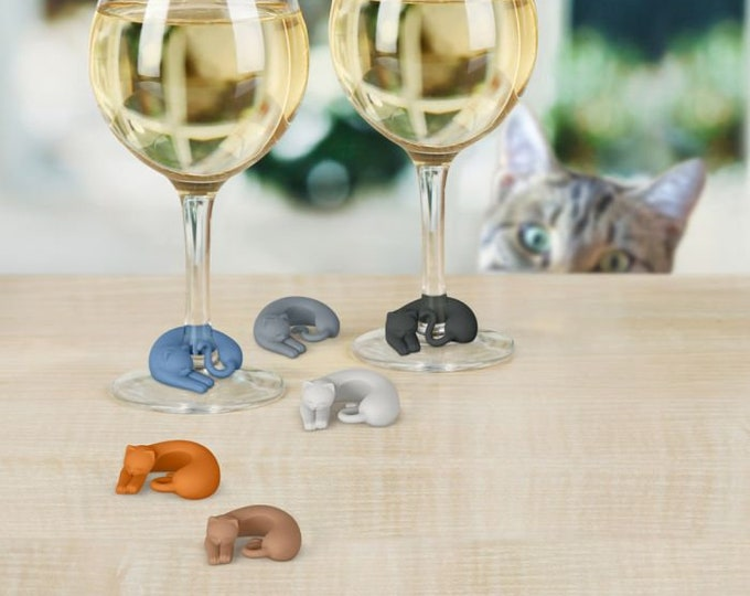 Wine Glass Marker Set- Cozy Cat