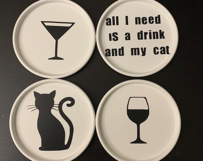 Cat Themed Coasters (4)