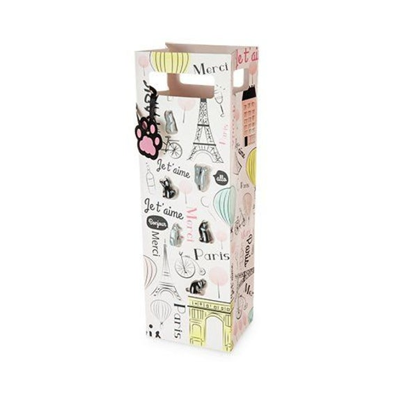 Gift Wine Bag- Cats in Paris (includes 6 wine glass markers)