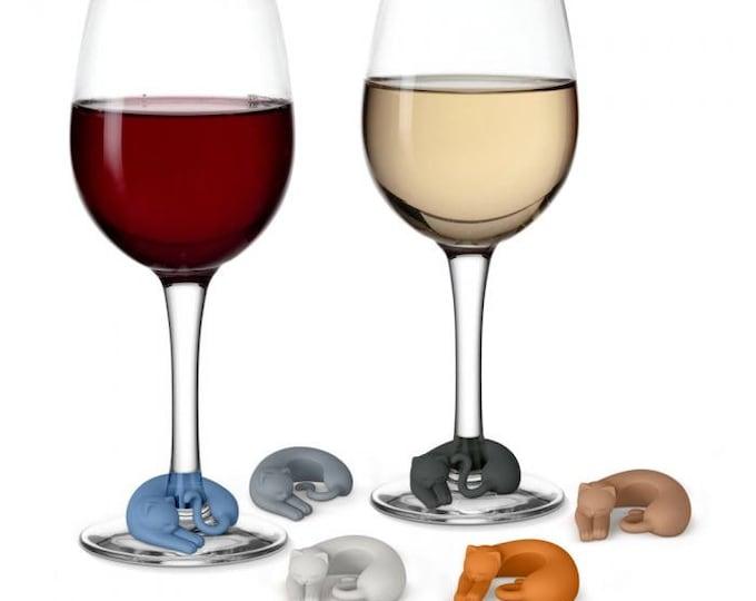 Wine Glass Marker Set- Cozy Cat
