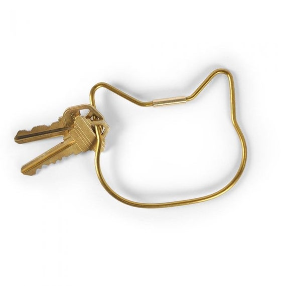 Brass Cat Key Ring