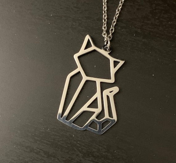 Necklace- Geometric Cat