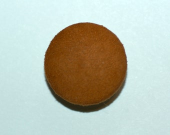 Tobacco Suede Button. Tobacco Suede Covered Button with Shank Back.