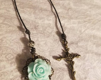 Hand made bookmark, featuring teal flower on bronze filigree, and cross. For 6 inch book or smaller