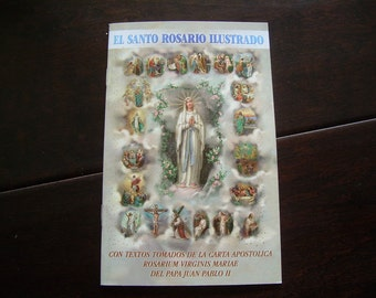 "El Santo Rosario Illustrado, 4"" x 6"" The Mysteries of the Rosary (Spanish), 32 pages   Bonella artwork and Gold stamped cover"