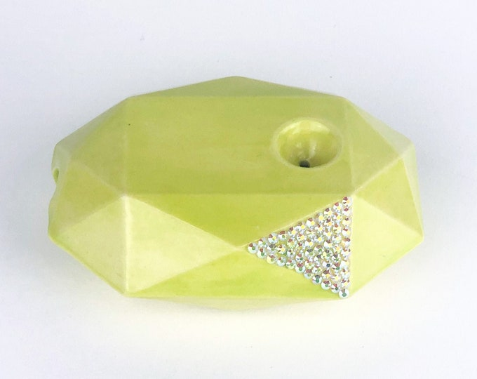 Bedazzled Neon Green Gem Pipe