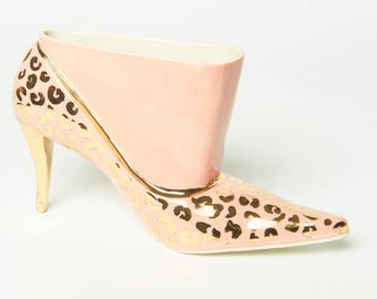 Pink Stiletto Vase with Gold Leopard Spots