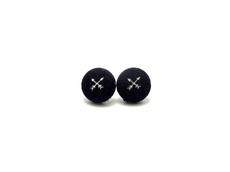 05766a79e Black arrow fabric button earrings arrow earrings crossed | Etsy