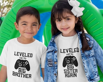 Leveled Up To Big Sister / Big Brother Toddler Tees / Baby Onesies® - Pregnancy Announcement Shirts - Big Brother Again / Big Sister Again