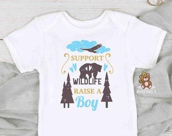Baby Boy Onesie® / Toddler Shirt Support Wild Life, Raise a Boy Onesie® -  Newborn Baby Gift  - Baby Announcement - Gender Reveal Boy Shirt