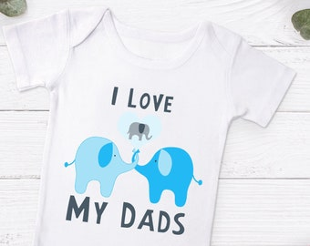 2a04de261bc I Love My Dads Elephant Design Baby Gerber Onesie® - Two Dads - Two Daddies  Baby Romper - LGBT Newborn Baby Romper - Gay Dad Baby Boy Grow