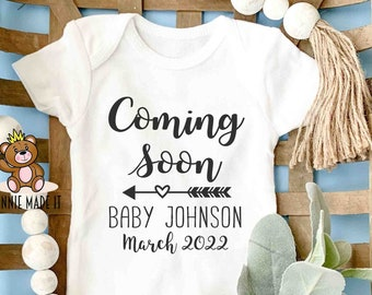 Pregnancy Announcement Onesie® - Coming Soon Personalized With Name and Due Date - Perfect Gender Neutral Pregnant Baby Announcement Romper