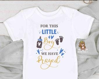 Newborn Baby Boy Onesie® -  Newborn Baby Gift  - For This Baby Boy We Have Prayed Onesie® - Baby Announcement - Preemie Boy  Onesie®